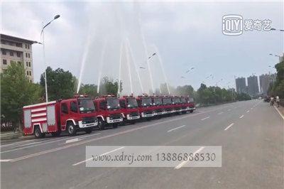 9台五十铃6吨水罐泡沫消防车打水视频,震撼!!!