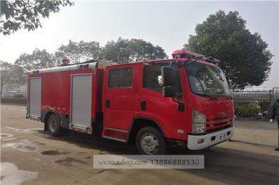 国六五十铃700P-3.5吨水罐消防车准备发车
